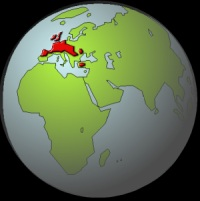Areas shown in red are the original homelands of the Celtic tribes.
