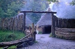 Celtic Roundhouses at St. Faggins © Lorraine Botting