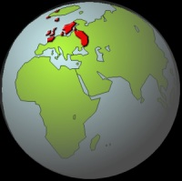 The Viking World shown in Red. ( Trade Links Extended Much Further )