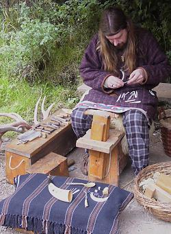 Making a small iron age celtic fishing gorge from antler. © Lorraine Botting