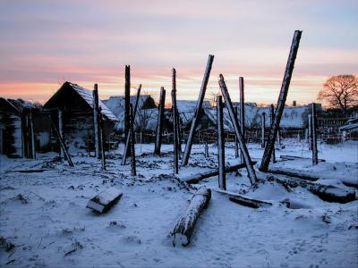 Snowfall on the remains of the burnt out Viking Longhouse