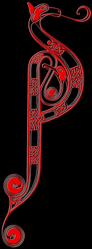 Anglo-Saxon art motif, influenced by Romano-British art