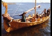 Landing a Viking Boat Reconstruction at Borre in Norway.