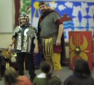 Part of an in school presentation on the Romans. Here we are discussing the equipent of a Roman legionary
