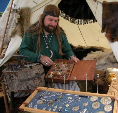 Part of a Viking silversmithing demonstration