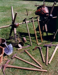 A selection of the tools a Roman soldier carried in addition to his battle equipment. The Roman Legions were builders as well as warriors.